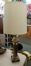 Mid Century HOLLYWOOD REGENCY HOTEL BRASS MARBLE CORINTHIAN COLUMN TABLE... - $149.99