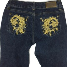 Rocawear Women Jeans Size 3 Junior Blue Gold Embellished Skinny Boot Cut Stretch - $14.50