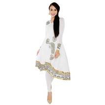 Ira Soleil white anarkali kurta with gold print made with strtchable lyc... - $49.99