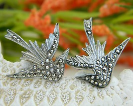 Vintage Bird Earrings Art Deco Marcasites Sterling Silver Screw Back - $24.95