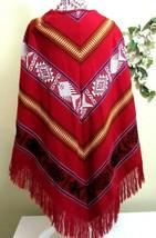Blanket Poncho Cape Shawl Tribal Womens One Size Aztex Fringe Southwestern  - $78.20