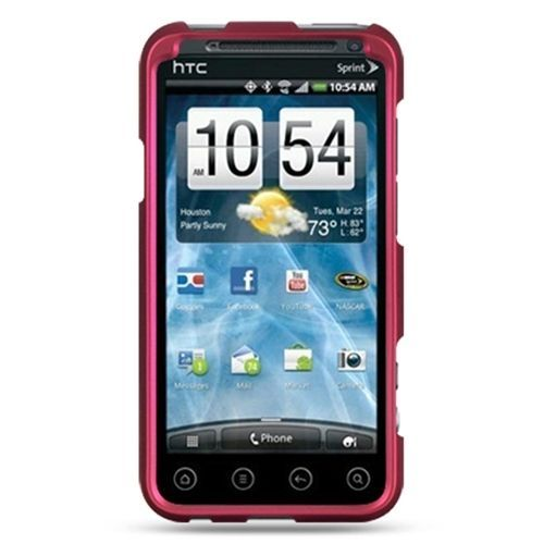 Decoro Premium Hard Shell Snap-On Case for HTC EVO 3D Hot Pink w/Rubber Grip