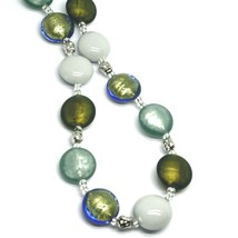 "NECKLACE WHITE GREEN BLUE ROUNDED MURANO GLASS DISC, 45cm 18"", MADE IN ITALY image 2"
