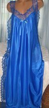 Royal Blue Nylon Lace Side Toga Style Long Nightgown M Lingerie Sleepwear - $22.00