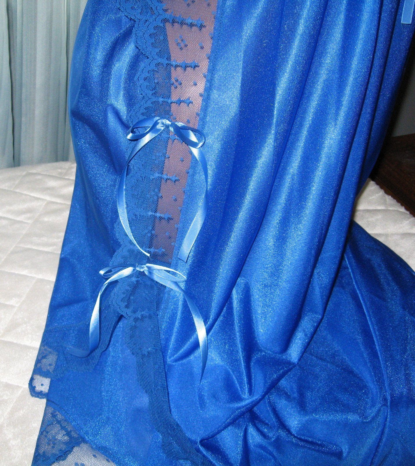 Royal Blue Nylon Lace Side Toga Style Long Nightgown M Lingerie Sleepwear