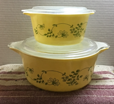 Set of Two Vintage PYREX Shenandoah Pattern Casserole Dishes with Lids - $22.00