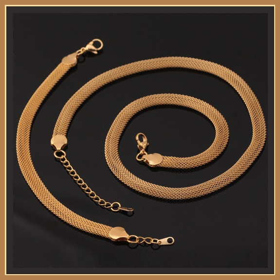 Gold Necklace and Wrist Bracelet Set Real 18k Gold Filled Flat Wide Mesh Weave