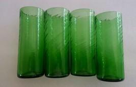 Vintage Hand Blown Green Tumblers Highball Glasses Set of 4 Pontil - $59.39