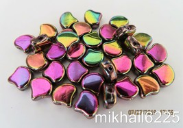 20 7.5 x 7.5 mm Czech Glass Matubo Ginkgo Leaf Beads: Crystal - Full Vitex - $2.22