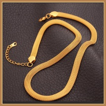Gold Necklace and Wrist Bracelet Set Real 18k Gold Filled Flat Wide Mesh Weave  image 2
