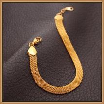 Gold Necklace and Wrist Bracelet Set Real 18k Gold Filled Flat Wide Mesh Weave  image 3