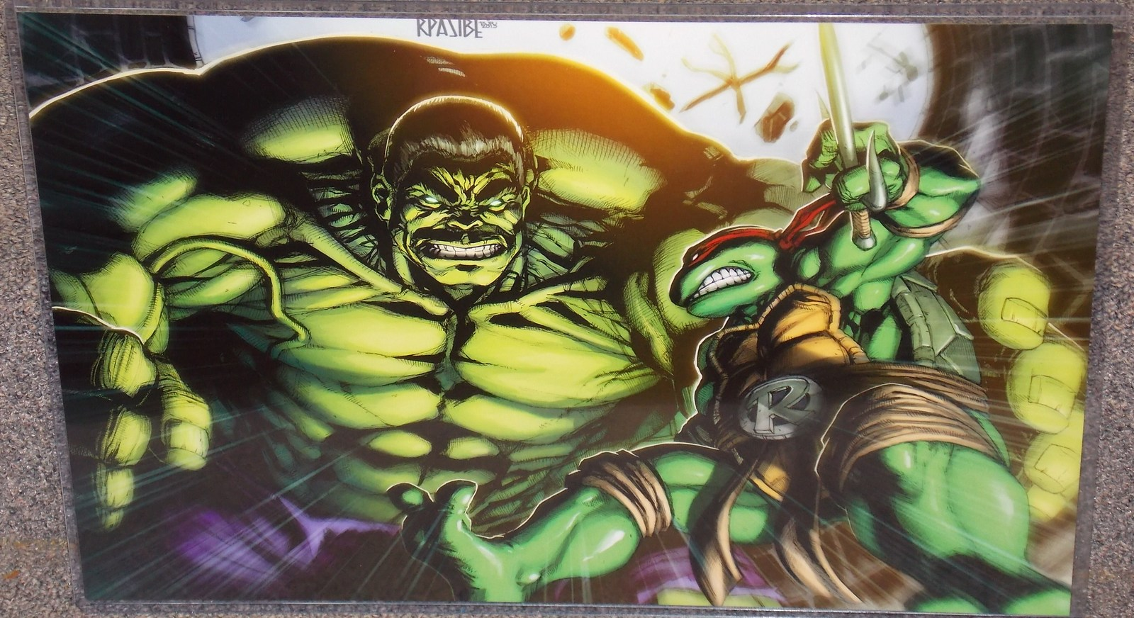 Primary image for TMNT Raphael vs Incredible Hulk Glossy Print 11 x 17 In Hard Plastic Sleeve