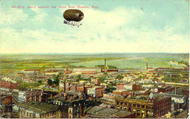 An Airship High Above Omaha Nebraska 1911 Vintage Post Card - $6.00