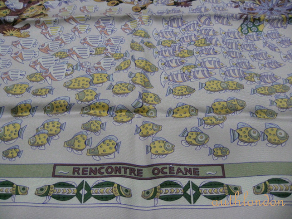 AUTH HERMES SILK SCARF CARRE RENCONTRE OCEANE
