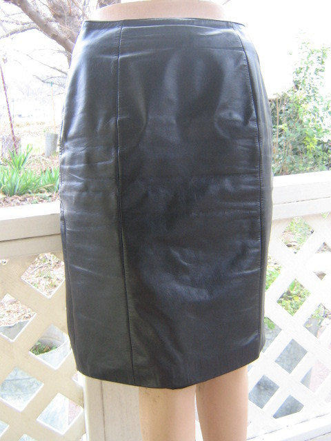 Vintage Black LEATHER Wilson Sexy Pencil Skirt ~ s