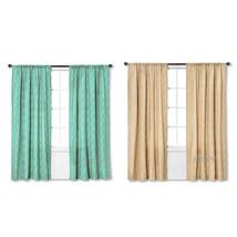 """NEW Threshold One Window Treatment Panel Tan/Green Greek Key 54""""x84"""" Curtain - $24.99"""