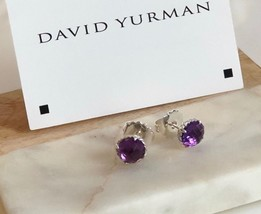 David Yurman Silver Stud Chatelaine Earrings with Amethyst NEW Authentic - $176.69
