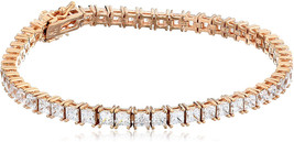 Rose Gold Plated Sterling Silver Princess-Cut Tennis Bracelet made with ... - $164.16
