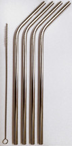 4 Stainless Steel Drinking Straws + Cleaner USA SHIP Eco-Friendly Reusab... - $6.92
