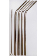 4 Stainless Steel Drinking Straws + Cleaner USA SHIP Eco-Friendly Reusable Bendy - $6.92