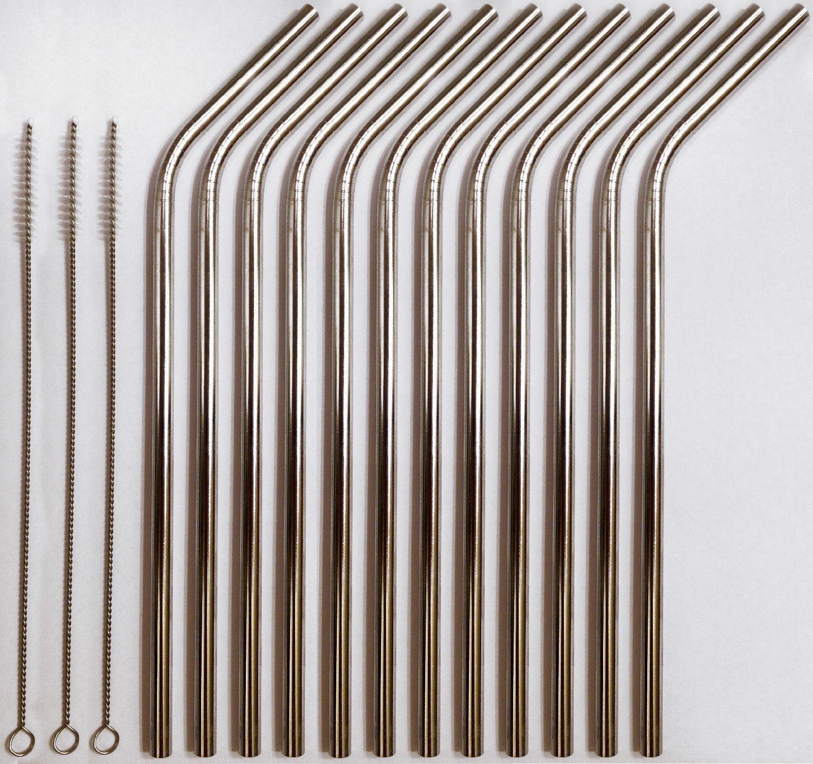12 Stainless Steel Drinking Straws + 3 Cleaner Brushes USA SELLER Reusable BULK