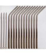 12 Stainless Steel Drinking Straws + 3 Cleaner Brushes USA SELLER Reusab... - $13.85