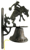 Cast Iron Cowboy on Saddle Bronco Dinner Bell Wall Mount Dinner Bell - $47.11