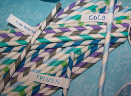Paper Straws 25 For Your Disney Frozen Or Cinderella Party Free Straw Fl... - €5,53 EUR