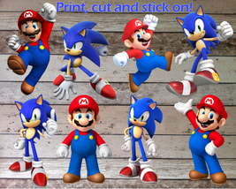 Mario & Sonic Cutout Printables Digital PDF Files for Decorations and Ir... - $6.00
