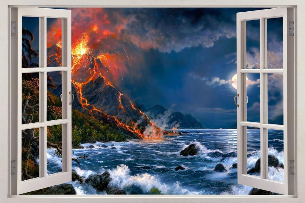 Volcano Beach 3D Window View Decal WALL STICKER Art Mural Exotic Fantasy Beach for sale  USA