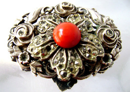 Art Deco Silver Marcasite Red Faux Coral Stone Filigree Brooch 30's - $10.00
