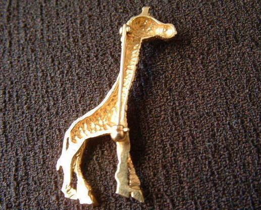 "14k Gold Vintage Giraffe Pin Brooch Figural, Stamped, 1.75"""