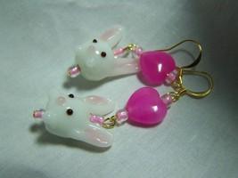 Bunny pink heart lampwork glass 2 1/4 inch gold earrings - $5.99