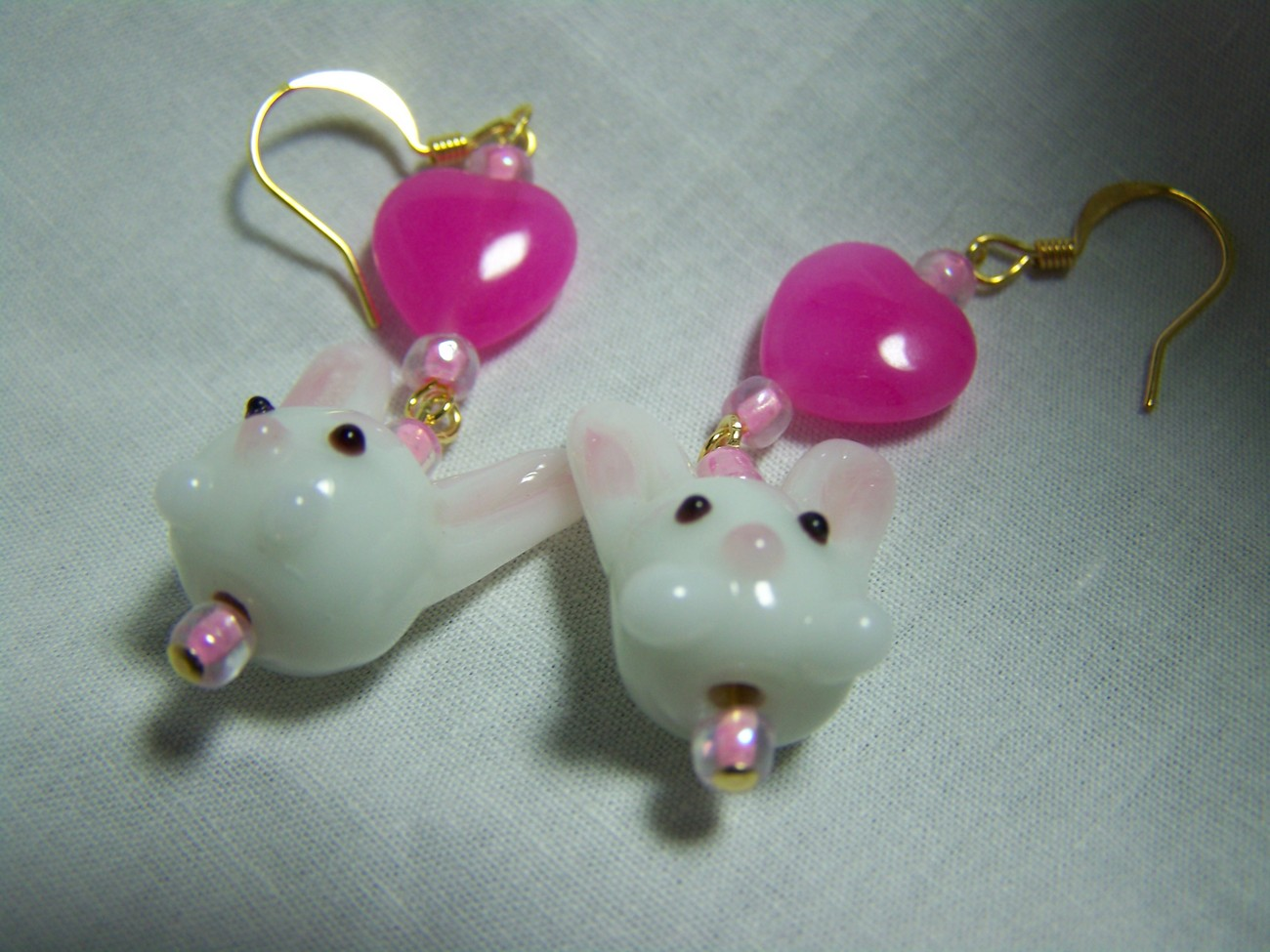 Bunny pink heart lampwork glass 2 1/4 inch gold earrings