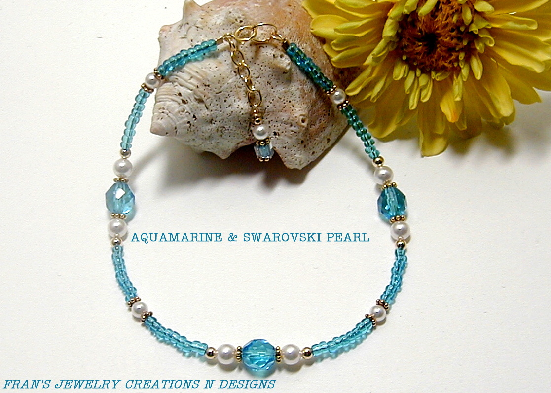 Primary image for AQUAMARINE AND SWAROVSKI CRYSTAL PEARL ANKLE BRACELET