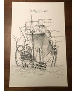 Vintage Print of Illustration Drawing of Schooner Warship and Sea Monster  - $27.91