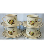 Royal Doulton Lambethware Cornwall LS1015 Cup Saucer, Set of 4 Double Green - $28.60