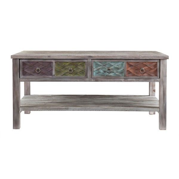 Rustic whitewash urban weathered style accent coffee table antique brass finish tables Whitewash coffee table