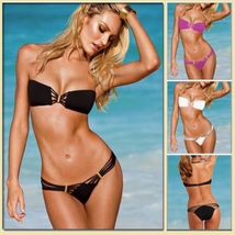 Tanning Beach Bikini Criss Cross Bandeau w/ Strappy Bottoms Five Bright Colors