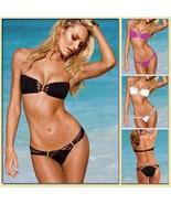 Tanning Beach Bikini Criss Cross Bandeau w/ Strappy Bottoms Five Bright ... - $43.95