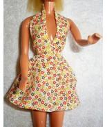 Vintage 80s Handmade Barbie Halter Dress Multi Color Floral Summer Dress... - $21.56