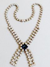 VTG Deco Blue and Clear crystal Rhinestone silver tone Necklace - $123.75