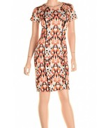 "Bar Lii Black Black Orange Combo ""Barcelona"" Geometric Stretch Dress S - $22.30"