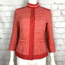 T Tahari Women's Blazer 4 Tweed Cropped Pink Coral Neon Trim - $52.36