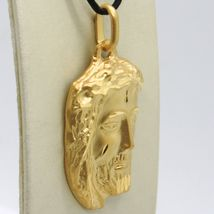18K YELLOW GOLD JESUS FACE PENDANT CHARM 42 MM, 1.6 IN, FINELY WORKED ITALY MADE image 4