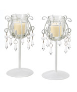 Wrought Iron Candleholders Pair Set of Two Crys... - $42.58