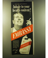 1950 Embassy Cigarettes Ad - Inhale to your heart's content - $14.99