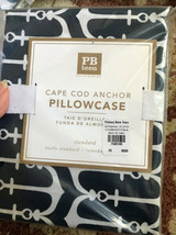 Pottery Barn Teen Cape Cod Anchor Standard Pillowcase Navy Blue Nautical New - $19.50