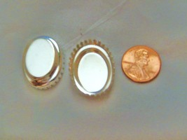 Crown edge silver plate oval bezel setting 25 x 18 mm package of 6 - $3.95