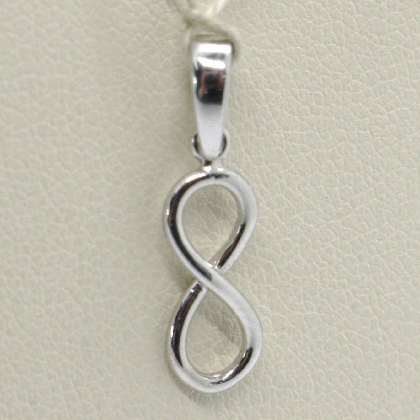 18K WHITE GOLD PENDANT CHARM INFINITY INFINITE, MADE IN ITALY 0.8 INCHES, 20 MM